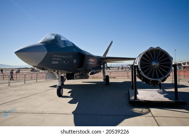 LAS VEGAS, NV - NOV 7:  F-35 Lightning II fighter on static display at Aviation Nation 2008 Airshow, November 7, 2008 at Nellis AFB, Las Vegas, NV