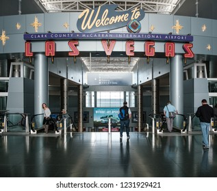 Las Vegas, NV - November 13, 2018 - Welcome to Las Vegas Sign. McCarran International Airport (LAS) is the main airport in Nevada.