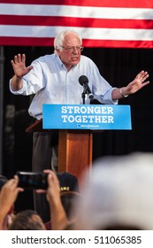 LAS VEGAS, NV - November 6, 2016: Bernie Sanders Looking Angry Campaigns For Democratic Party At CSN. Vertical Photo.