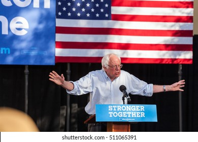 LAS VEGAS, NV - November 6, 2016: Bernie Sanders With Arms Open Campaigns For Democratic Party at CSN.