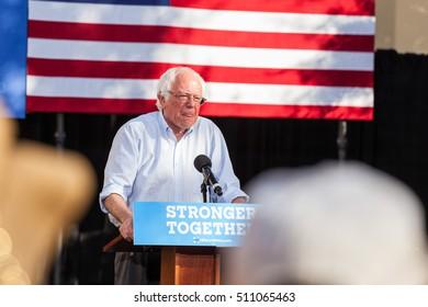 LAS VEGAS, NV - November 6, 2016: Bernie Sanders Licks Lips During Campaigns For Democratic Party at CSN.