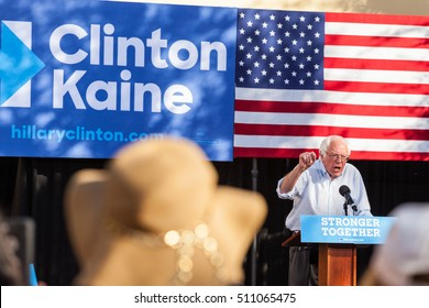 LAS VEGAS, NV - November 6, 2016: Bernie Sanders Looks Upset During Campaigns For Democratic Party at CSN.