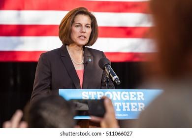 LAS VEGAS, NV - November 6, 2016: Catherine Cortez Masto Campaigns For Democratic Party at CSN.