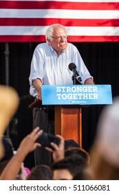 LAS VEGAS, NV - November 6, 2016: Bernie Sanders Campaigns For Democratic Party at CSN. Vertical Photo.
