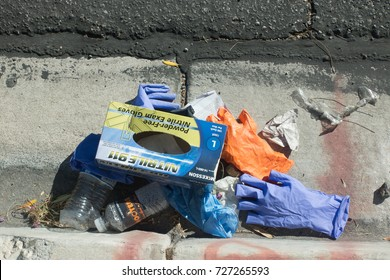 Las Vegas, NV, Oct. 2, 2017: Half a mile away from the Mandalay Bay massacre a gutter is littered with remnants of emergency medical care for shooting victims.
