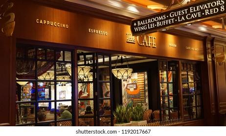 LAS VEGAS, NV - OCT 27: Cafe at the Wynn Las Vegas and Encore in Las Vegas, as seen on Oct 27, 2015. The US$2.7-billion resort is named after casino developer Steve Wynn.