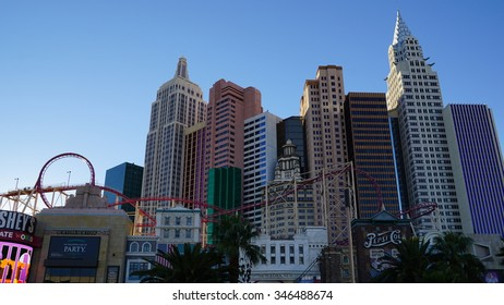 LAS VEGAS, NV - OCT 30: New York New York hotel-casino creating the impressive New York City skyline with skyscrapers and Statue of Liberty in Las Vegas, Nevada, as seen on Oct 30, 2015.