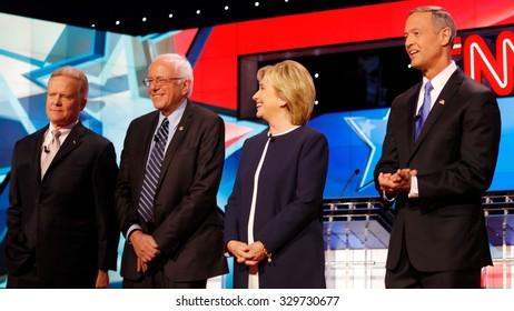 LAS VEGAS, NV - OCTOBER 13 2015: (L-R) Democratic presidential debate features candidates Jim Webb, Sen. Bernie Sanders, Hillary Clinton and Martin O'Malley at Wynn Las Vegas.