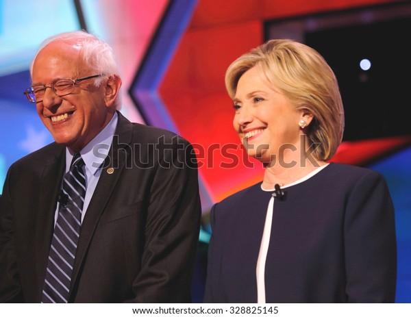 LAS VEGAS, NV - OCTOBER 13 2015: CNN Democratic presidential debate features candidates Sen. Bernie Sanders, Hillary Clinton at Wynn Las Vegas.