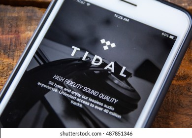 LAS VEGAS, NV - September 22. 2016 - Tidal Music App On Apple iPhone Screen. Splash Screen Display. Selective Focus.