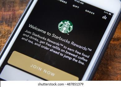 LAS VEGAS, NV - September 22. 2016 - Starbucks App On Apple iPhone Screen. Splash Screen Display. Selective Focus.