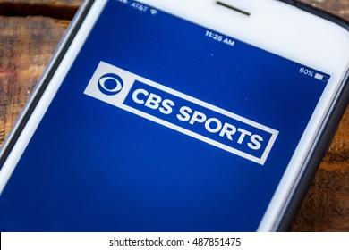 LAS VEGAS, NV - September 22. 2016 - CBS Sports App On Apple iPhone Screen. Splash Screen Display. Selective Focus.