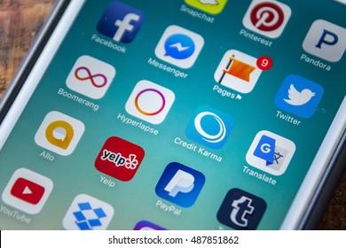 LAS VEGAS, NV - September 22. 2016 - Credit Karma App Icon On Apple iPhone Screen. Selective Focus.