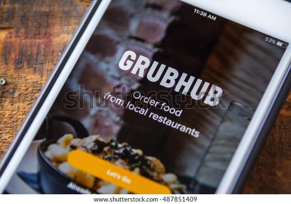 LAS VEGAS, NV - September 22. 2016 - Grubhub App On Apple iPhone Screen. Splash Screen Display. Selective Focus.