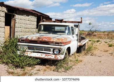Las Vegas, NV, USA - 05 09 2017: Abandoned old car in the desert of Nevada.
