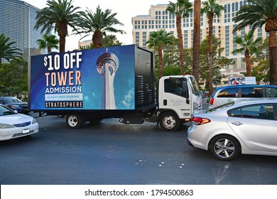 Las Vegas NV, USA 09-25-18 Digital Mobile Billboards are the biggest and brightest advertising trucks moving through the Las Vegas strip