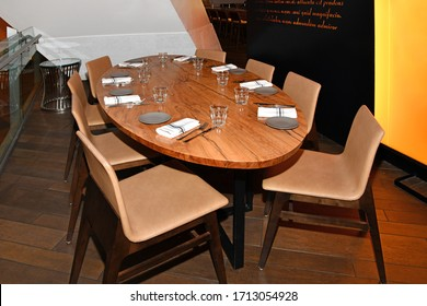 Las Vegas NV, USA 09-30-18 Elegant table at Cucina by Wolfgang Puck at The Shops at Crystals is ready to welcome new diners