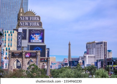 Las Vegas, NV, USA 11/15/2017 — The Strip on a rare cloudy day out of its usual June to September Monsoon storm season. Captured at the New York New York Hotel and Casino.