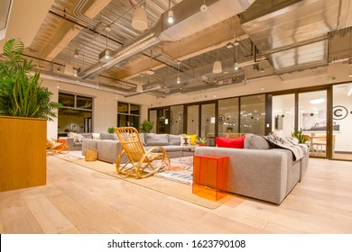 Las Vegas, NV, USA 1/20/2020 — Common area lounge of the WeWork shared office space at Two Summerlin. Modern and cozy furniture in a large room.
