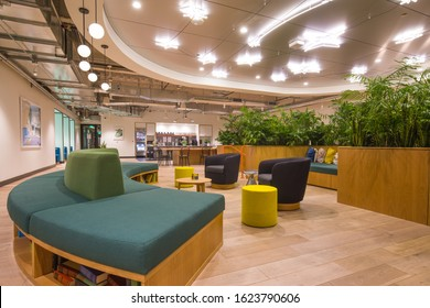 Las Vegas, NV, USA 1/20/2020 — Common area lounge of the WeWork shared office space at Two Summerlin. Modern and cozy furniture in a large room. Self service bar at the back wall.