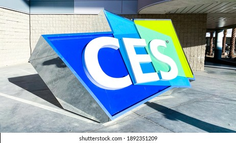 Las Vegas, NV, USA 1-9-2020: CES sign at the entrance of Las Vegas Convention Center. Usually the largest convention in the world, it is being held virtually this year amid the Covid pandemic.