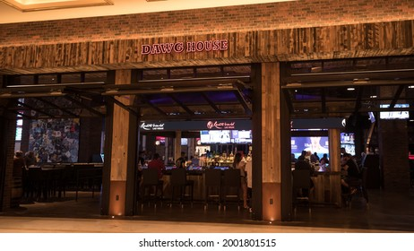 Las Vegas, NV, USA 6-25-2021: Storefront of Dawg House Saloon and Sportsbook in the newly opened Resorts World on the Las Vegas Strip. Dawg House is a classic Nashville sports bar.