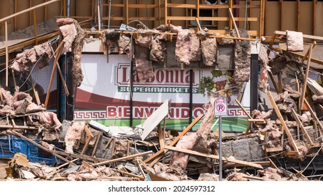 Las Vegas, NV, USA 8-13-2021: Remains of La Bonita Supermarkets on Desert Inn Road and Eastern Avenue after the building collapsed. Ruins remain scattered on the street. Front view of the store.