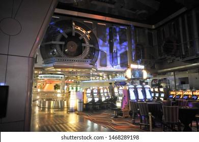 LAS VEGAS, NV / USA - April 12 2011:  Slot Machines in the Star Trek themed casino room at the Las Vegas Hilton.