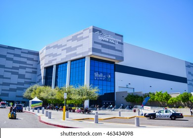 Las Vegas, NV, USA , April 18, 2016: Low aerial view of the Las Vegas Convention Center is the largest single-level convention center in the world in Las Vegas, Nevada, USA