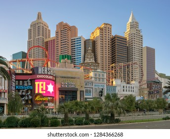 Las Vegas, NV, USA - Dec 13-2018 - Hotels at Las Vegas strip