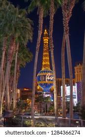 Las Vegas, NV, USA - Dec 13-2018 - Night view of the Eifel Tower at Las Vegas