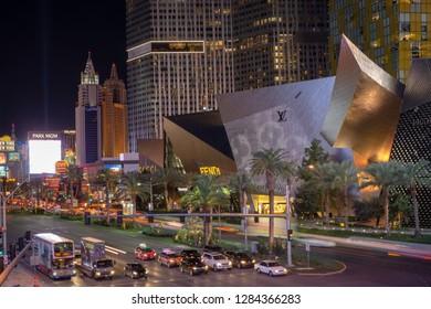 Las Vegas, NV, USA - Dec 13-2018 - Night view of Las vegas