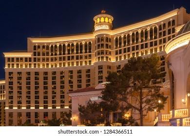 Las Vegas, NV, USA - Dec 13-2018 - Night view of the Bellagio Hotel-Casino at Las Vegas