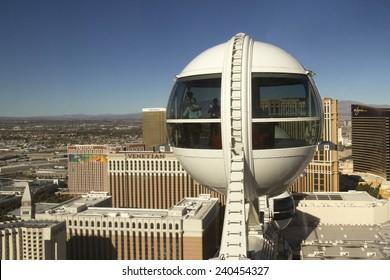 Las Vegas, NV, USA - December 22, 2014 :  High Roller ferris wheel high over the Las Vegas Strip