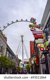 LAS VEGAS, NV, USA - December 24, 2016: High Roller located along the Las Vegas strip during the daytime. It is famous for it's themed hotels, gambling, and high end lifestyle.