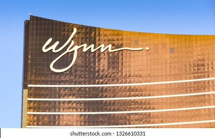 LAS VEGAS, NV, USA - FEBRUARY 2019: Close up view of the sign on top of the Wynn Hotel and Resort on Las Vegas Boulevard.