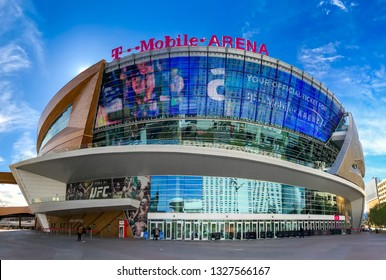 LAS VEGAS, NV, USA - FEBRUARY 2019: Panoramic exterior view of the T Mobile Arena in Las Vegas. It is the home of the Golden Knights ice hockey team.