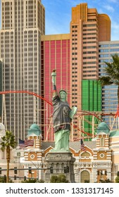 LAS VEGAS, NV, USA - FEBRUARY 2019: Replica of the Statue of Liberty outside the New York New York Hotel in Las Vegas. It is draped in the shirt of the Golden Knights ice hockey team based in the city
