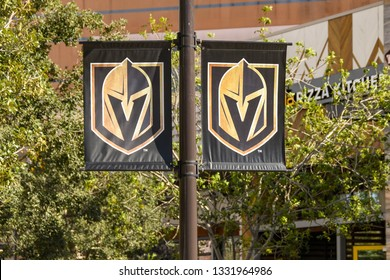 LAS VEGAS, NV, USA - FEBRUARY 2019: Banners on a lamp post in Las Vegas with the badge of the Golden Knights professional ice hockey team, which is based in the city.