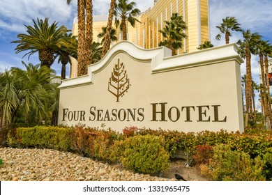 LAS VEGAS, NV, USA - FEBRUARY 2019: Sign outside the entrance to the Four Seasons Hotel on Las Vegas Boulevard.