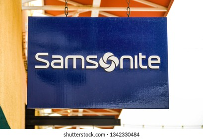 LAS VEGAS, NV, USA - FEBRUARY 2019: Sign above the entrance to the Samsonite store in the Premium Outlets north in Las Vegas.