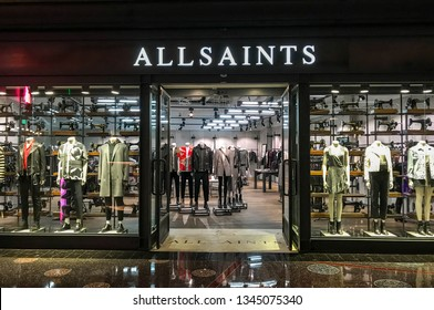 LAS VEGAS, NV, USA - FEBRUARY 2019: Entrance to a branch of All Saints in a shopping mall in Las Vegas.