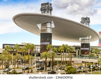 LAS VEGAS, NV, USA - FEBRUARY 2019: Wide angle view of the Fashion Show Shopping Mall at the northern end of Las Vegas Boulevard.
