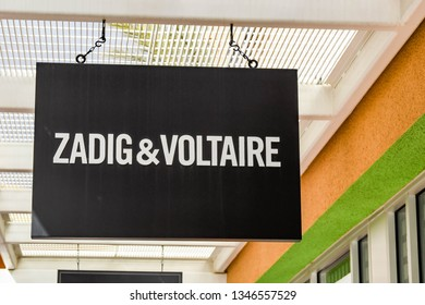 LAS VEGAS, NV, USA - FEBRUARY 2019: Sign above the entrance to the Zadig & Voltaire store in the Premium Outlets north in Las Vegas.