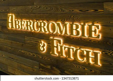 LAS VEGAS, NV, USA - FEBRUARY 2019: Illuminated sign on the outside of a branch of Abercrombie & Fitch in Las Vegas.