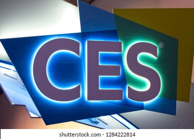 LAS VEGAS, NV, USA, JAN. 8, 2019: A sign welcomes visitors to the annual 2019  Consumer Electronics Show (CES)  showcasing thousands of electronic products and innovations.