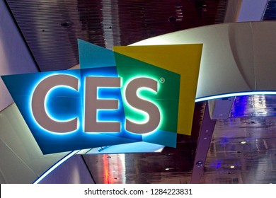 Las Vegas, NV, USA, Jan. 8, 2019: A sign wlecomes visitors to the annual 2019  Consumer Electronics Show (CES) in Las Vegas, showcasing thousands of electronic products and innovations.