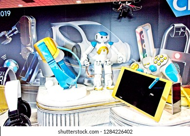 Las Vegas, NV, USA, Jan. 8, 2019: A display highlights some of  the technological innovations on exhibit at the annual CES show in Las Vegas.