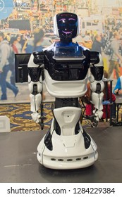 Las Vegas, NV, USA, Jan. 8, 2019:  A friendly robot on display at 2019 CES show is programmed to take retail customer orders.