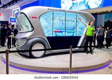 Las Vegas, NV, USA, Jan. 8, 2019: The annual CES show highlights the latest technology advances, like this self-driving shuttle bus concept developed by Bosch.